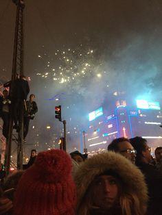 Fireworks at midnight in Copenhagen's city square