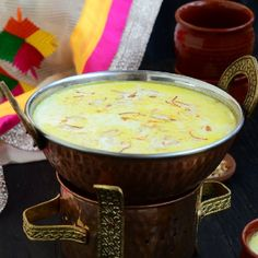 Badami besan doodh. A hot milk made with chickpea flour and almonds. Very nutritious and recommended in winters.