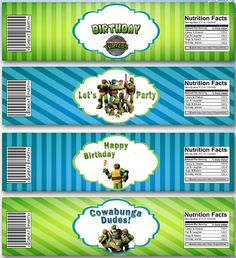 water Turtle Birthday Parties, Ninja Turtle Birthday, Ninja Turtle Party, 14th Birthday, Ninja Turtles, Party Themes, Party Ideas, Nutrition, Matching Games