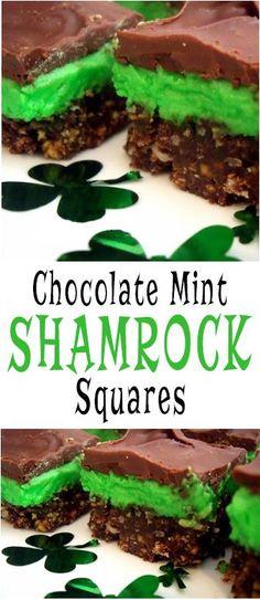 Chocolate Mint Shamrock Squares - St. Patrick's Day Dessert Recipe