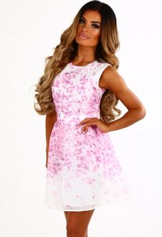 Loveable Lady Pink And White Skater Dress White Skater Dresses 733f06f38