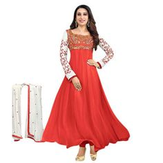 a48a07ef3453 Buy Red Georgette Semi Stitched Suit by A to Z ENTERPRISE