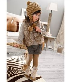 Browns and grays make for a stylish outfit choice even for the little ones.