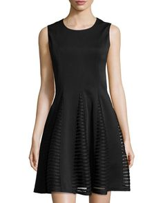 A.Z.I. Sleeveless Lace-Panel Fit-and-Flare Dress, Black New offer @@@ Price :$229 Price Sale $135