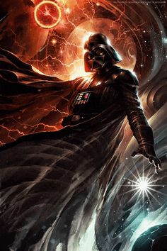 "This art was made for animation - my animated motion art of Raymond Swanland's ""Center of the Storm"" - Darth Vader looks fantastic here! #starwars #motionart #mygifs #darthvader #art"