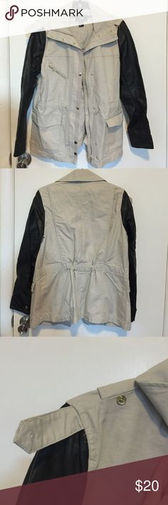 ⚡️SALE⚡️H&M utility jacket w/ leather sleeves (8) H&M utility jacket with leather sleeves size 8. Snap on one shoulder missing...the piece is missing, but the strap could easily be sewn to the jacket and wouldn't even be noticeable! ✨ H&M Jackets & Coats Utility Jackets