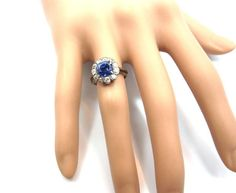 Victorian No Heat Sapphire Old Cut Diamond Silver Gold Cluster Ring | From a unique collection of vintage cluster rings at http://www.1stdibs.com/jewelry/rings/cluster-rings/