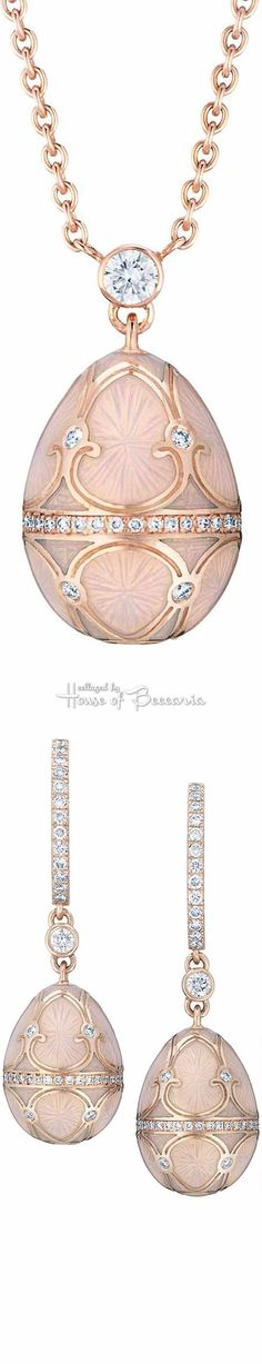 Rosamaria G Frangini   High Pink Jewellery   Fabergé Les Palais Tsarskoye Selo Empereur Rosé Egg Pendant & Drop Earrings From The Heritage Collection. White Diamonds and Pink Guilloché Enamel Set in 18 carat Rose and Yellow Gold   House of Beccaria