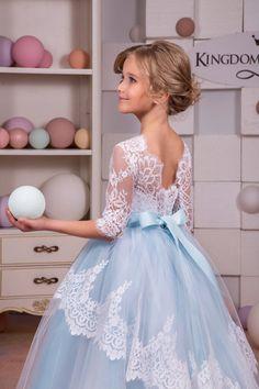White and Blue Lace Flower Girl Dress от KingdomBoutiqueUA