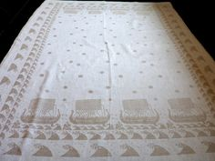 Huge Vintage linen tablecloth with Viking boats big lovely table cloth