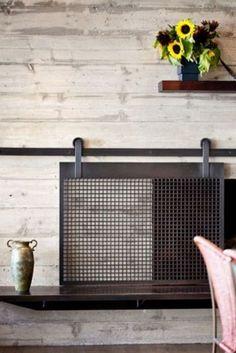Portentous Useful Ideas: Gas Fireplace Cover grey brick fireplace.Freestanding Fireplace Living Rooms old fireplace charms. Fireplace Redo, Fireplace Doors, Fireplace Cover, Concrete Fireplace, Fireplace Remodel, Fireplace Design, Fireplace Ideas, Small Fireplace, Metal Fireplace