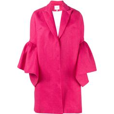 Delpozo bell sleeve single breasted coat ($2,329) ❤ liked on Polyvore featuring outerwear, coats, pink, single-breasted trench coats, pink coat and delpozo