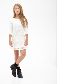 Floral Lace Raglan Dress (Kids) love this dress but not the boots