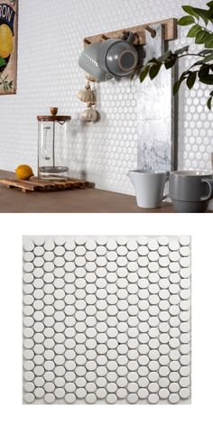 Rejuvenate a kitchen or bathroom wall or floor space with these trendy Circular White Matt Mosaic Tiles. These penny mosaics are made from durable porcelain. Pink Bathroom Tiles, Spa Bathroom Decor, Bathroom Ideas, White Mosaic Tiles, Diy Kitchen Projects, Penny Tile, Bathroom Pictures, Wall And Floor Tiles, Splashback