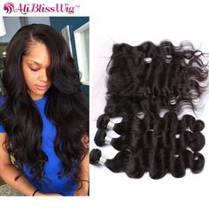 Hair Extensions & Wigs Aspiring Ali Sky Peruvian Hair Body Wave 3 Bundles With 360 Lace Frontal Closure Pre Plucked With Baby Hair Non Remy 100% Human Hair Human Hair Weaves