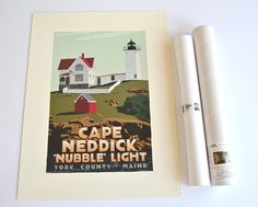 """Cape Neddick 'Nubble' Light, Maine Print (18x24 Lighthouse Travel Poster, Wall Decor Art). Cape Neddick 'Nubble' Light by Graphic Artist Alan Claude. Beautiful Cape Neddick """"Nubble"""" Light is planted on a small rocky island that is 'so close yet so far' from the shore divided by a 100 foot channel. The vivid contrasting autumn light and shadows delivered the depth and dimension for the rock foundation I was seeking, but I added a soft delicate blueish shadow on the tower and the keeper's..."""