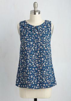 To the Nines Sleeveless Top in Blue Blooms. When you have to wear a spiffy ensemble but dont want to don a dress, choose this floral top! #blue #modcloth