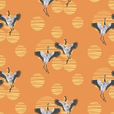 Dance with me - orange by mia_sue Creative Studio, Creative Business, Surface Pattern Design, Custom Fabric, Spoonflower, My Design, Craft Projects, Dance, Quilts
