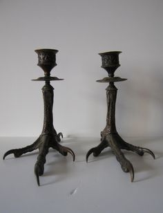 pair of antique bronze bird feet candle holders by RetroDecoShop on Etsy https://www.etsy.com/listing/120106647/pair-of-antique-bronze-bird-feet-candle