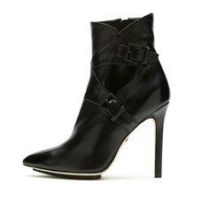 Short black buckle boot