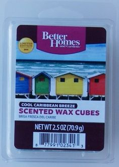 Better Homes and Gardens Cool Caribbean Breeze Wax Cubes $4.00 Fragrant immediately upon melting Wax can be recycled or reused Easy clean-up with a paper towel One package of 6 cubes Store in a cool place