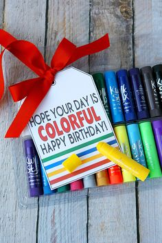 Kwik Stix and Magic Stix Gift Ideas - Birthday Tags, Great Birthday Gifts, Happy Birthday, Birthday Ideas, Homemade Gifts, Diy Gifts, Vegan Kitchen, Kitchen Recipes, Colorful Birthday