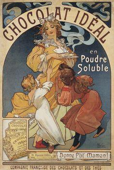 """""""Chocolat Idéal"""" poster (before 1897, by Alphonse Mucha, Museu Nacional d'Art de Catalunya)"""