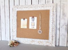 White framed bulletin board  shabby chic decor by YouMatterDesigns