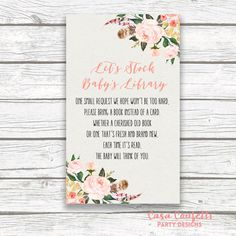 Printable Boho Stock Babys Library Invitation Inserts  Help the mom-to-be stock up on books! This listing includes a PRINTABLE file with four (4)