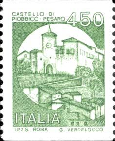 Sello: Castles- Pesaro (Italia) (Castles) Yt:IT You Are The World, Postage Stamps, Ephemera, 1990, Romantic, Lettering, History, Poster, Postcards
