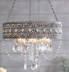 SHABBY FRENCH CHIC CANDELIER Crystals Drop Silver Grey NEW . It isn't exactly a perfect fit for the cottage motif, but I am not in love with the light over the kitchen sink, and ceiling fans over my bed creep me out if the ceilings are too low. Shabby French Chic, Shabby Chic Français, Shabby Chic Lighting, Shabby Chic Homes, Shabby Chic Furniture, Shabby Chic Chandelier, Shabby Chic Light Fixtures, Nursery Chandelier, Vintage Chandelier