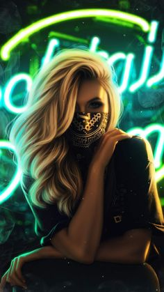 Blonde Girl Face Mask - iPhone Wallpapers