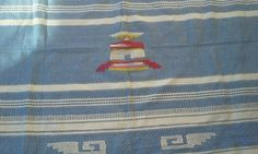 Vintage Blue and White Woven Table Cloth with Four Napkins from Mexico