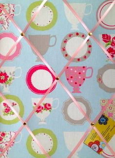Medium Clarke & Clarke Duck Egg Tea Cups Hand Crafted Fabric Notice / Memory / Pin / Memo Board £14.99