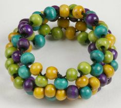 Wooden Stretch Bracelet Curious Designs. $4.95. The same bracelet available in different colors.. Free shipping on orders over $75.00.. Non endangered Indonesian wooden beads.. Please see our apparel and bead lines!
