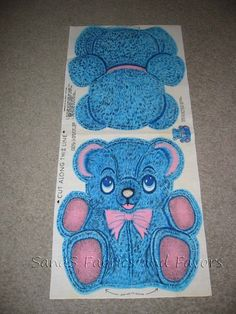 Vintage 1950s or 1960s Pink and Blue Bear Fabric by eluna1002