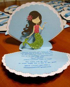 My Little Mermaid Pop Up Invitation/ Under the Sea Pop Up Birthday Invitations. $6.00, via Etsy.