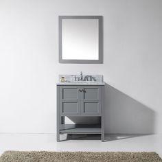 Virtu USA - ES-30030-WMSQ-GR - Winterfell 30 in. Bathroom Vanity Set front view 30 Inch Bathroom Vanity, Discount Bathroom Vanities, Cheap Bathrooms, Bathroom Vanity Cabinets, Vanity Sink, Bath Vanities, Bathroom Furniture, Downstairs Bathroom, Marble Vanity Tops