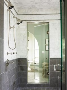 really like the two tones for the half bath. Carrera Marble and grey porcelain tile.  http://www.houzz.com/photos/97908/Master-Bathroom-contemporary-bathroom-other-metro