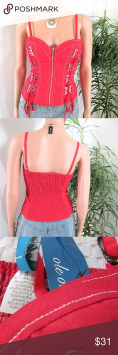 """New! Boutique* Corset Style Top Not lounge wear! This cotton, poly, spandex top is well constructed,  with front zipper, back elastic panel, no boning. Decorative lacing, adjustable straps. Layer, festival wear.  Measured flat. 14""""~17' across top. 12""""~14"""" across center. 14""""~ 16 across bottom. 11.5"""" long.  on 5' 9'' model, 33'' x 24'' x 33.5""""  good fit.  Indie boutique ole ole Boutique Tops"""