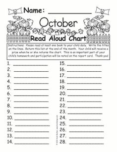 Love this read aloud chart for parents to record read alouds on