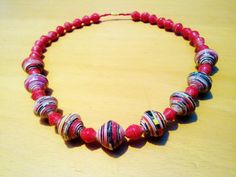 Necklace big paper beads by NyendoProducts on Etsy, $12.50