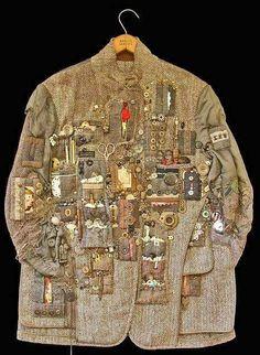Treasure Hunting Jacket by Diane Savona. #tweed #salvage #menawear #jacket #clothesasart #memorabilia #collections #collectionoftheartist