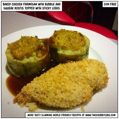 These syn-free baked chicken parmesan are tasty, quick to make and syn-free! You can serve them with these bubble and squeak rostis that add a nice touch! Slimming World Chicken Dishes, Slimming World Dinners, Slimming World Recipes, Slimming Eats, Healthy Eating Recipes, Cooking Recipes, Healthy Food, Healthy Dishes, Recipes