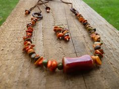 multi colored jasper and ceramic with rawhide necklace and earrings by…