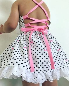doll dress patterns Items similar to Toddler girls white black polkdot pink bow corset style tie up open back baby doll dress on Etsy Fashion Kids, Toddler Girls Fashion, Trendy Dresses, Nice Dresses, Little Girl Dresses, Girls Dresses, Kids Frocks, Frock Design, Doll Dress Patterns