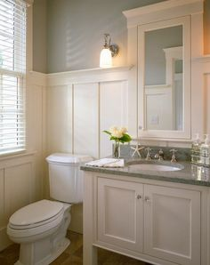 Love the high wainscotting and the rest of the styling of this bathroom. lucywilliamsinteriordesign.blogspot.com