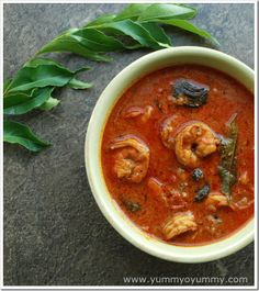 Kerala Style Prawn Curry  http://www.yummyoyummy.com/2013/04/chemmeen-curry-kerala-style-prawn-curry.html