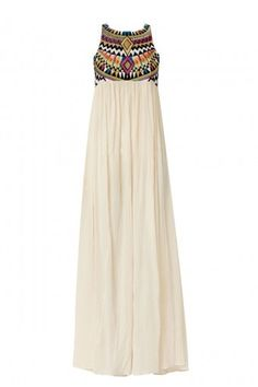 Aztec top maxi dress--plain and foreign at the same time.would look so good with a jean jacket