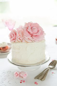 Pink Velvet Cake, this cake could have real roses on top inside of fondant roses.  So  beautiful and easy